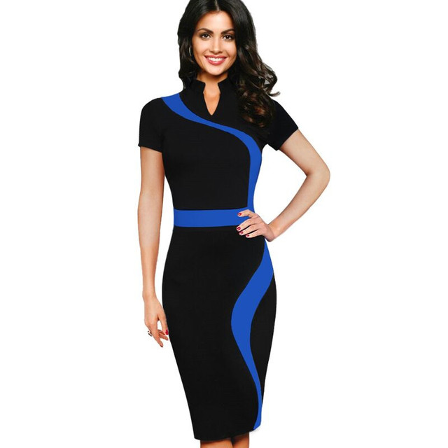 2016 Office Formal Work Dress Women Vestidos Casual Summer Bodycon Dress  Black Midi Pencil Party Dresses Slim Tight Sexy Dress 42ad0eee7bbc