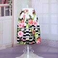 Primavera Verano Nuevo Estilo de Las Mujeres Faldas de Moda Elegante Una Línea de Falda Elástico de Cintura Alta Flor Impreso Longitud de La Rodilla Moda Esponjoso
