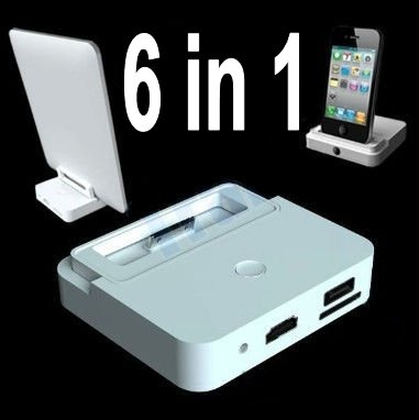 free shipping 5pcs lot 6 in 1 hdmi adapter dock station for ipad2 ipad 2 ipad 3 iphone 4 ipod. Black Bedroom Furniture Sets. Home Design Ideas
