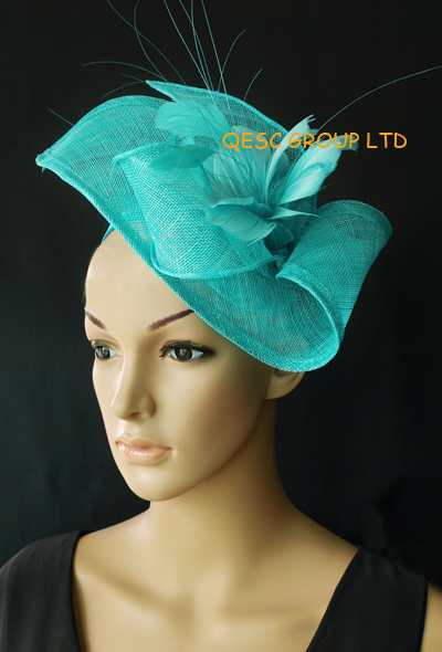 4b662ff1d1660 Wholesale Elegant NEW 13 colours arrival Turquoise blue sinamay Fascinator  hat for kentucky derby wedding party.