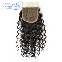 New Star Brazilian Deep Wave Free Part Closure Medium Brown 4×4 Swiss Lace Natural Color Virgin Human Hair Free Shipping