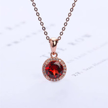 wholesale luxury trendy 925 sterling silver Garnet natural gemstone pendant necklace for wedding engagement