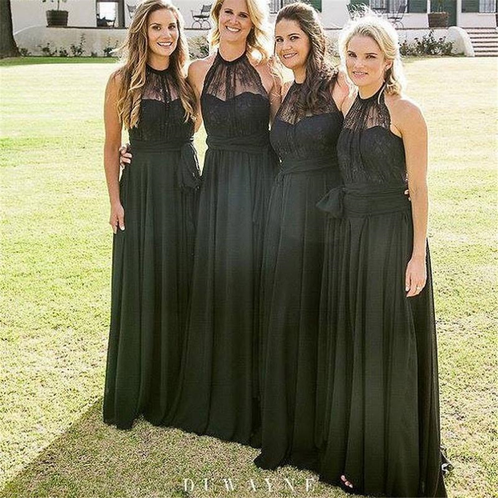 Black Chiffon   Bridesmaid     Dresses   2019 Halter A Line Floor Length Long Wedding Party Gown Custom Made Cheap Maid Of Honor   Dress