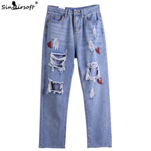 Summer Hole Jeans Ladies Loose Large Size Fashion Brand Nine Points Print Blue Denim Trousers New Hot Pants