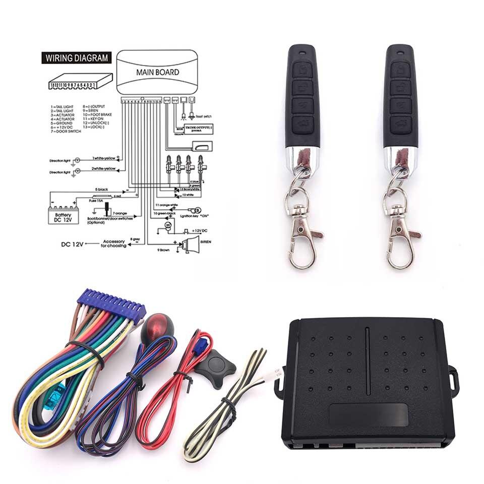 Car Alarm System 13p Auto Remote Central Kit Door Lock Locking Wiring Diagram With Key Control In Burglar From Automobiles