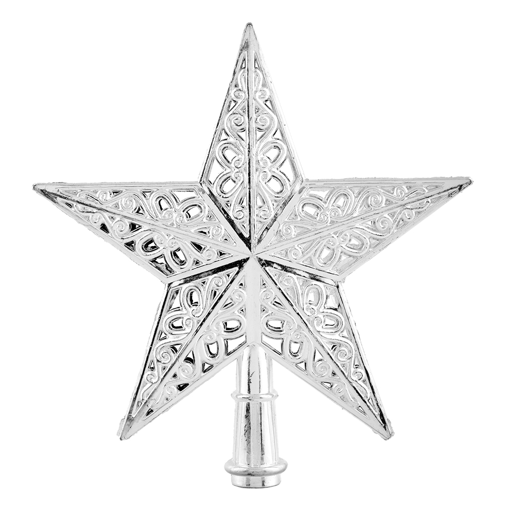 New Shiny Decorative Silver Christmas Xmas Star Tree Topper Pendant Charm For Table Top Home Office Decor Ornament In Toppers From Garden On