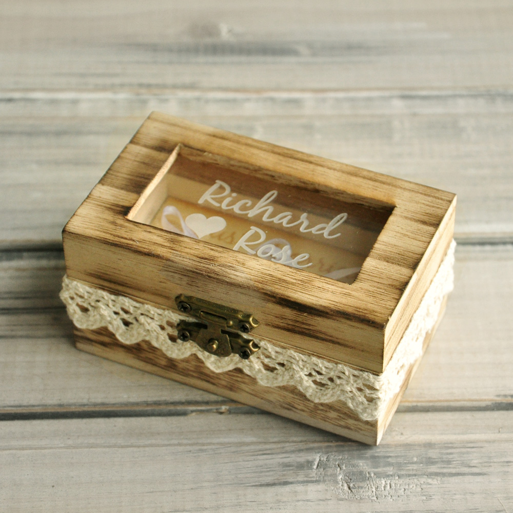 Personalized Wooden Ring Box Rustic Wedding Ring Bearer Box Engraved Names Ring Box Gift for Wedding