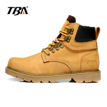 TBA Hot men's hiking men fall and winter shoes top martin Genuine Leather waterproof shoes men size 38-44 free shipping