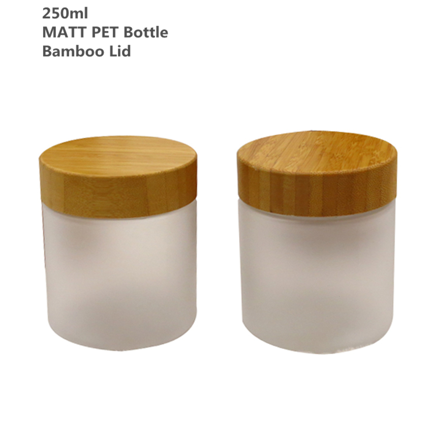 Pack of 10 250g 250ml  Matt Frosted PET Cream Bottle Jars with bamboo Lid bamboo Cap Bamboo Plastic Cosmetic jars Free shipping lid
