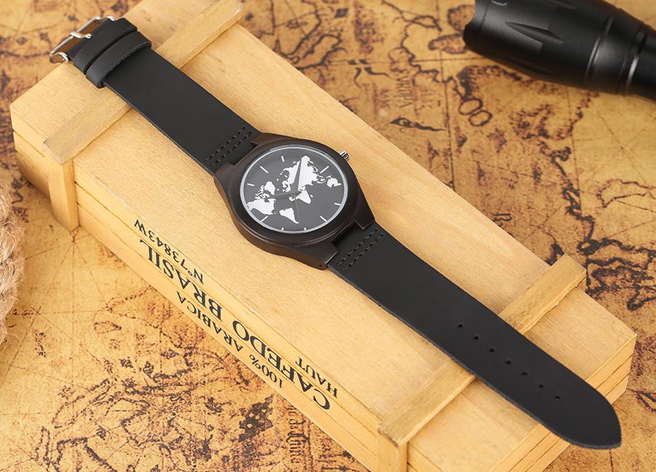 2017 Fashion Nature Ebony Wood Watch Mens World Map Handmade Black Quartz Wristwatch Minimalist Classic Bamboo erkek kol saati (13)