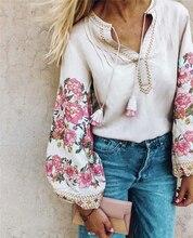 Spring women bohemian Tassel shirt cute beach floral embroidery linen cotton blouse shirt  flare sleeve loose Boho shirts blusa