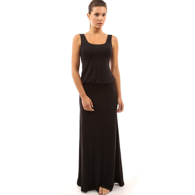 Solide Maxi Langes Kleid Lässig Boho Kleidung Geraffte Taille Frauen ...