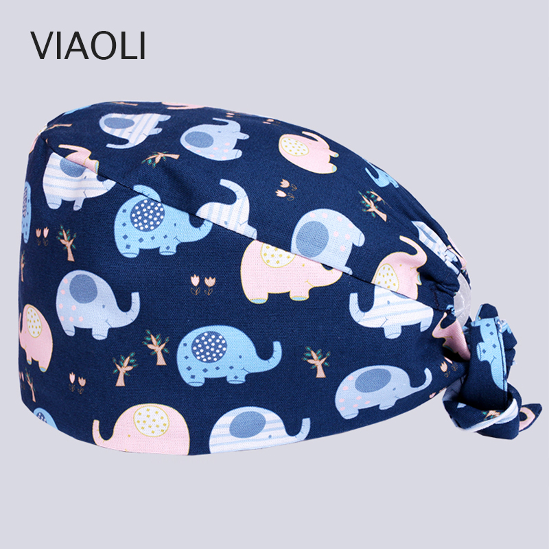 Medical Accessories Surgical Cap Men And Women Doctor Nurse Hat Operating Room Hat Dental Beauty Salon Work Cap Printing Blue