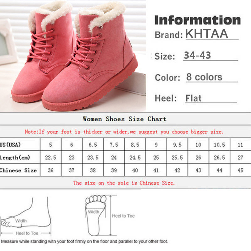 Women Flock Fur Flat Lace Up Winter Snow Suede Ankle Boots Female 6