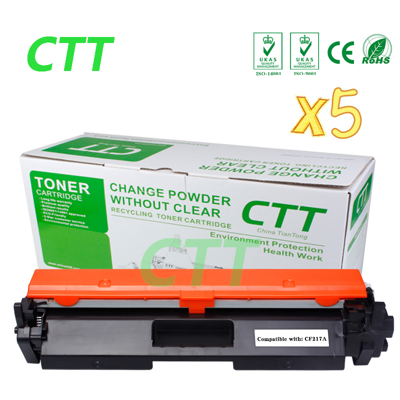5pcs CF217A 17A 217A Toner Cartridge Compatible for HP LJ Pro M102a M102W 102 MFP M130a M130fn 130 130fn M102 M130 not with chip