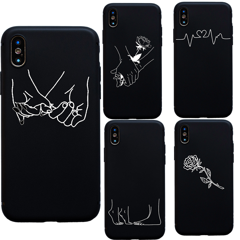 Abstract Line Art Drawing Couples Kiss Rose Hand Feet soft case for iphone 6 6s 7
