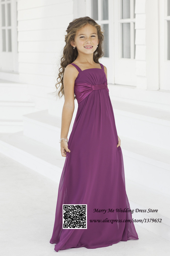2017 Pretty Purple Straps Empire Long Chiffon Flower Child Bridesmaid Dress Dresses Kids Evening Gowns In From Weddings Events On