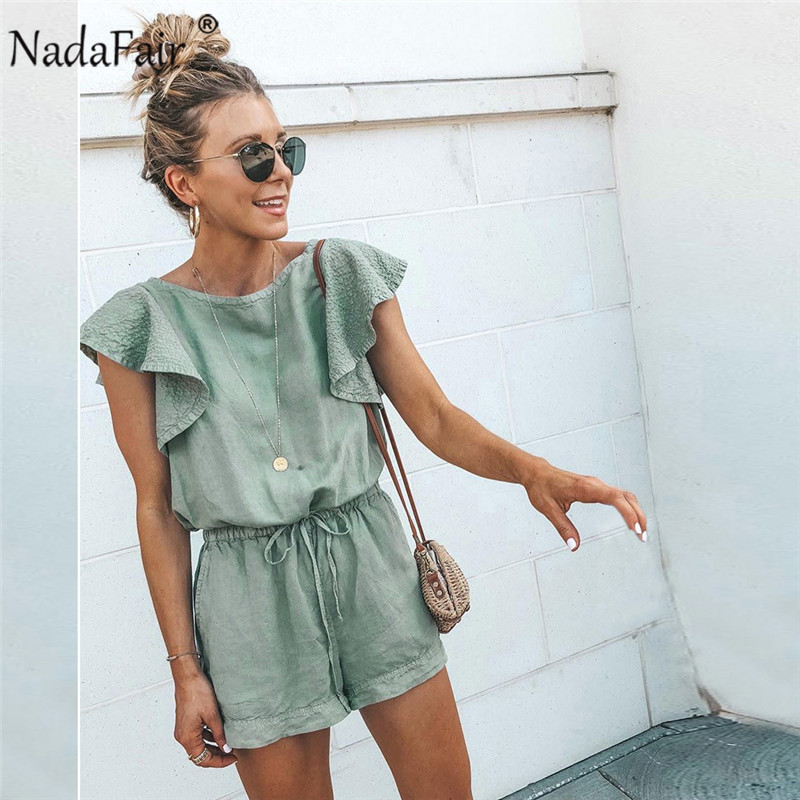 Nadafair Playsuits Women Cotton Linen Casual Ruffles Sleeve Elastic Waist Sexy Rompers Women   Jumpsuit   Overalls Summer Mono Mujer