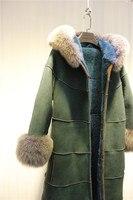 Arlene sain 2017 mujeres lana Merino de piel verdadera capa integrada de cuero larga chaqueta con capucha envío gratis