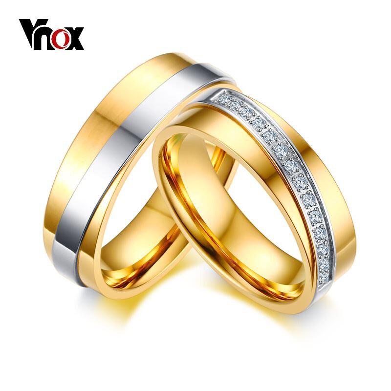 Vnox Elegant Wedding Rings for Women Men Fashion Gold ...