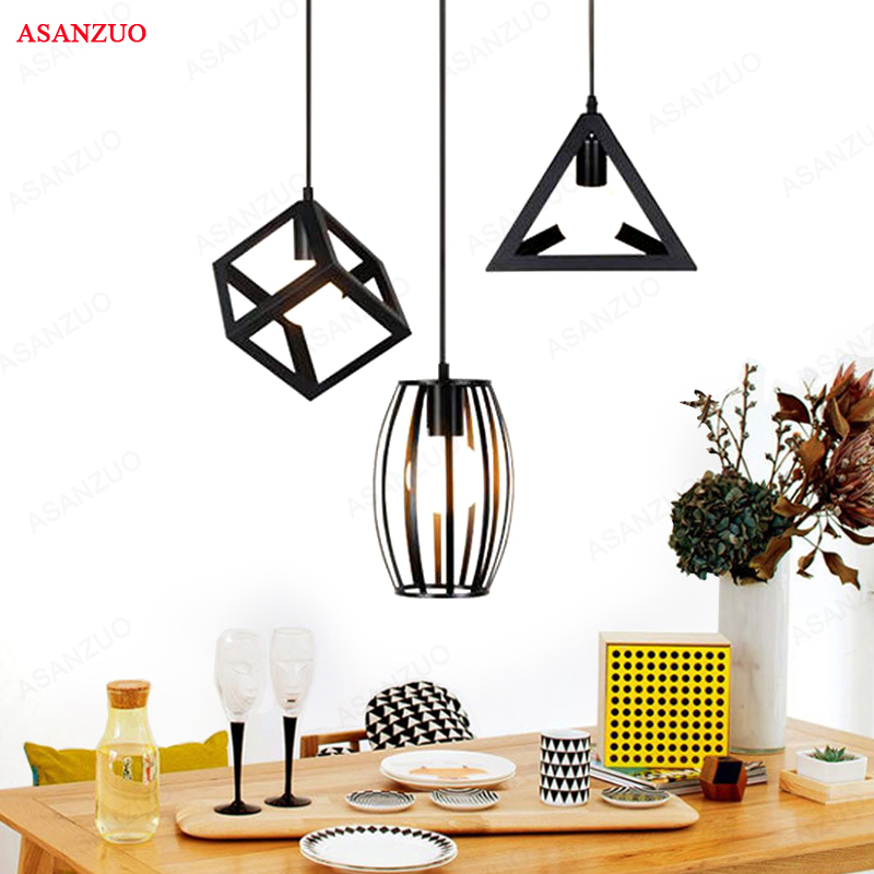 3 heads pendant lighLoft Iron Pendant Lights Industrial Style Restaurant Bar Creative Retro Bar Pendant Lamps E27 Hanging Lights