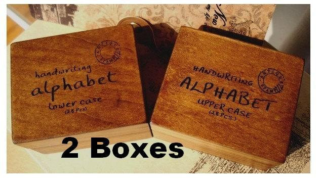 2 Boxes Wooden Alphabet Letter Stamp Set Number Symbol Rubber 28pcs Handwriting Stamps In Party DIY Decorations From Home Garden On