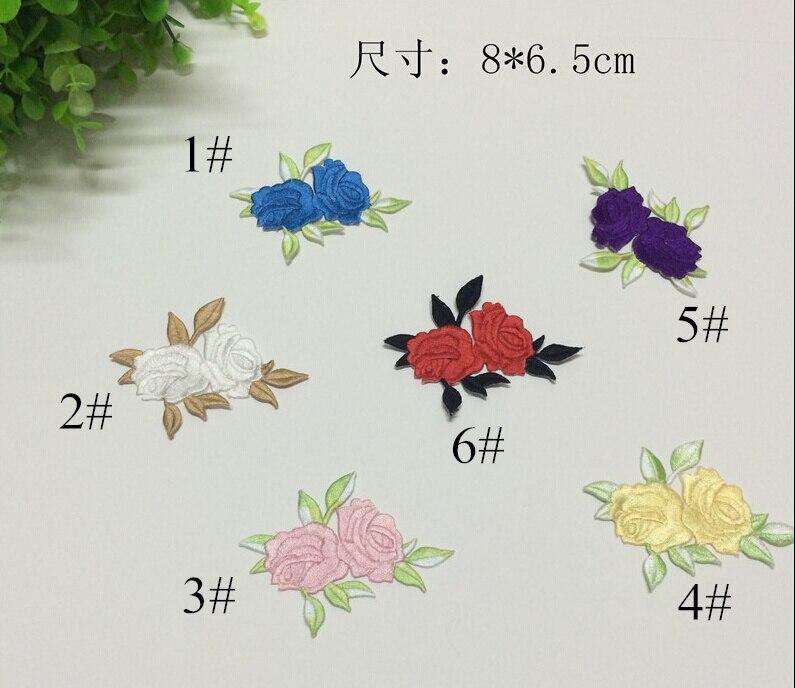 ᐊ8*6.5 cm Accesorios del traje tela adhesiva bordado flor pegatinas ...
