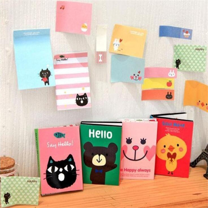 Diy Creative Cartoon Animal Cat Bear Chick Memo Pad Novelty Sticky Notes Planner Stickers Memo Pad Stationary Office Supplies