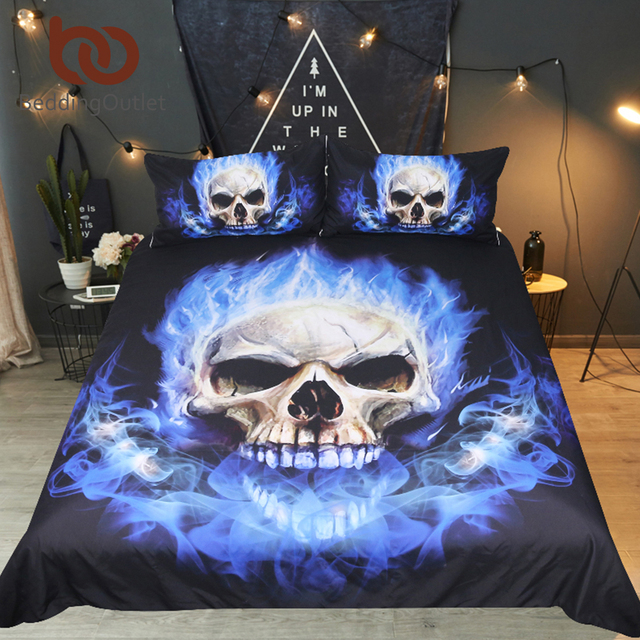 BeddingOutlet Flame Skull Bedding Set King 3D Print Gothic Duvet Cover Blue Fire Bedclothes 3pcs Fashion Home Textiles For Boys