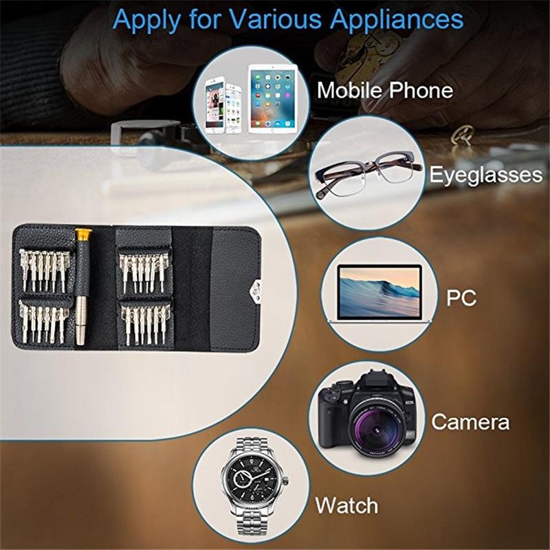 QUK Screwdriver Set Precision Repair Tool Kits 25 In 1 Torx Phillips Bit Sets Portable For PC Eyeglasses Mobile Phone Watch6