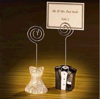 wedding favor place card holder--Tuxedo and Gown Wire Table Number Memo Photo Clip Party Decoration 100pcs/lot