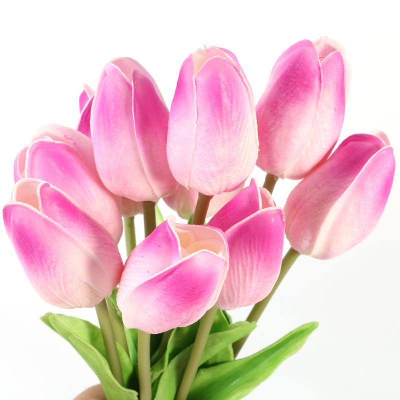 10 UNIDS Tulipán Flores Artificiales de Látex Verdadero Toque Ramo Hecho A Mano