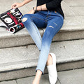 Donna Ripped Jeans For Women Holes Jeans Boyfriend Gradient Color Sexy Skinny Womens Rip Jeans Ankle-Length Pencil Pants K43S