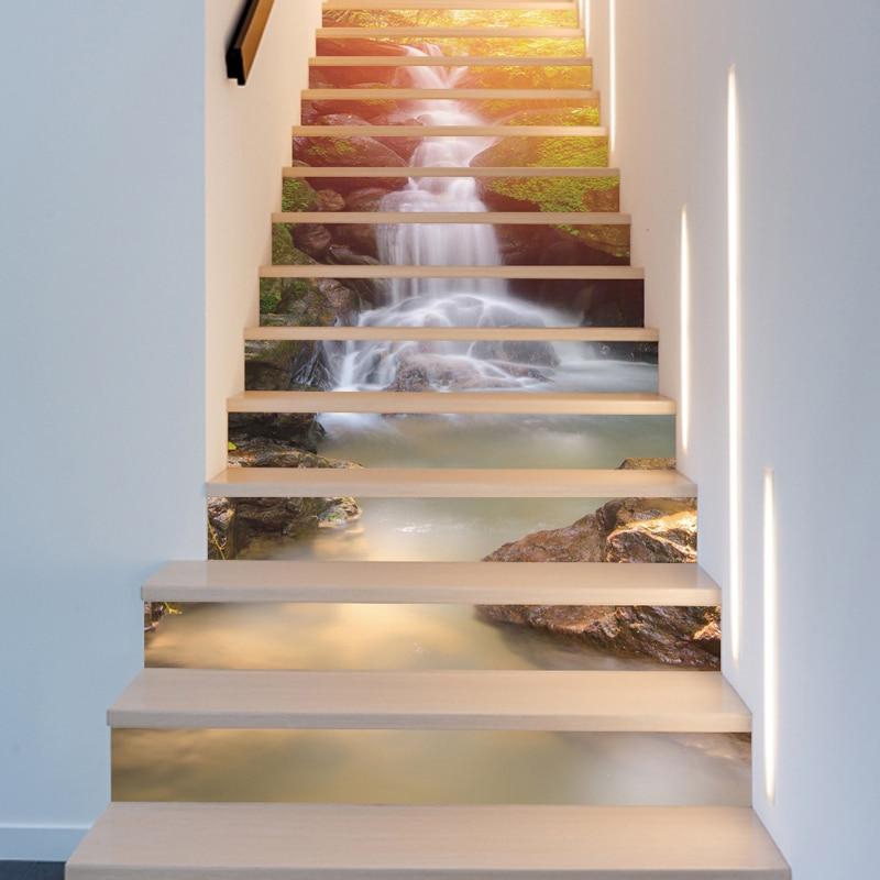 13Pcs 3D Sunshine Waterfall Stair <font><b>Wall</b></font> <font><b>Sticker</b></font> Home Decor DIY Rivers Landscape Theme Decor <font><b>Sticker</b></font> <font><b>Wall</b></font> Paper Mayitr