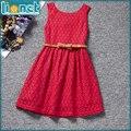 2016 лето симпатичные рукавов цветочные кружева талии платья для детей одежда для девочек мода ну вечеринку платье девушки бесплатная доставка