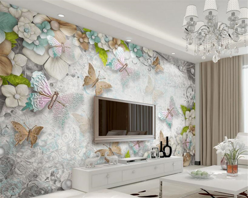 Custom Butterfly flowers pearls 3D photo wallpaper stereoscopic backdrop wallpapers for living room papier peint beibehang custom baby wallpaper snow white and the seven dwarfs bedroom for the children s room mural backdrop stereoscopic 3d