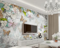 Custom Butterfly Flowers Pearls 3D Photo Wallpaper Stereoscopic Backdrop Wallpapers For Living Room Papier Peint Beibehang
