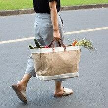 Casual waterproof linen bag large-capacity shopping bag simp