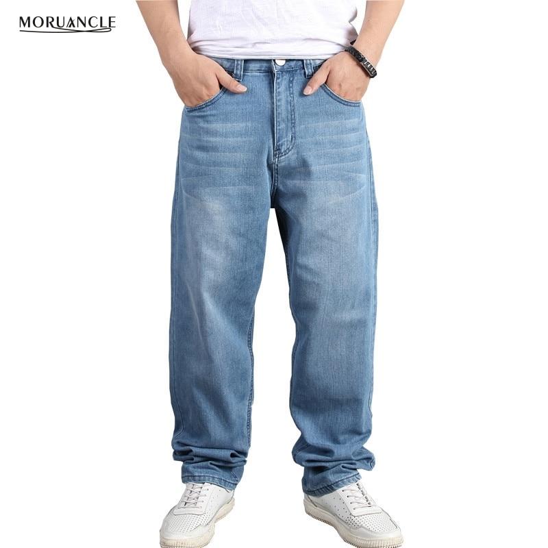 Moruancle Men's Baggy Hip Hop Jeans Pants Loose Skateboard Denim Trousers Streetwear Plain Solid Plus Size 30-46 Reasonable Price