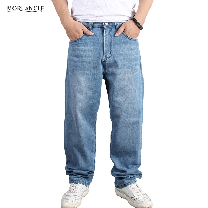 MORUANCLE Men's Baggy Hip Hop   Jeans   Pants Loose Skateboard Denim Trousers Streetwear Plain Solid Plus Size 30-46