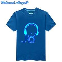 Детская одежда, футболка для мальчиков, модная футболка светящиеся хлопковые топы для девочек-подростков, светящиеся в темноте, детская одежда, футболки