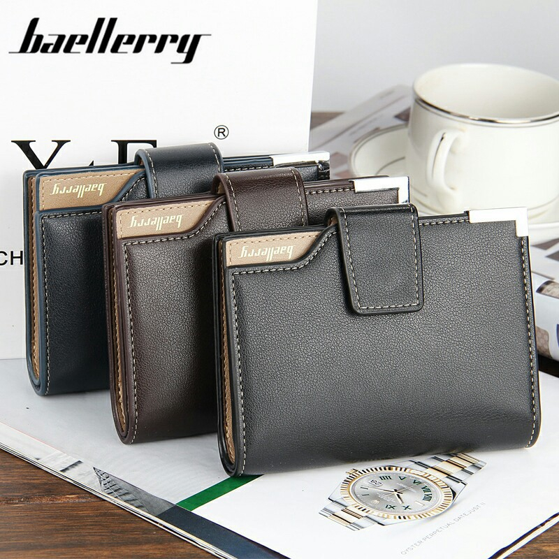 Baellerry Wallet PU Leather Men Wallets Solid Purse Male Card Holder Leather Brand Name Wallet Baellerry Money Quality Casual baellerry business black purse soft light pu leather wallets large capity man s luxury brand wallet baellerry hot brand sale