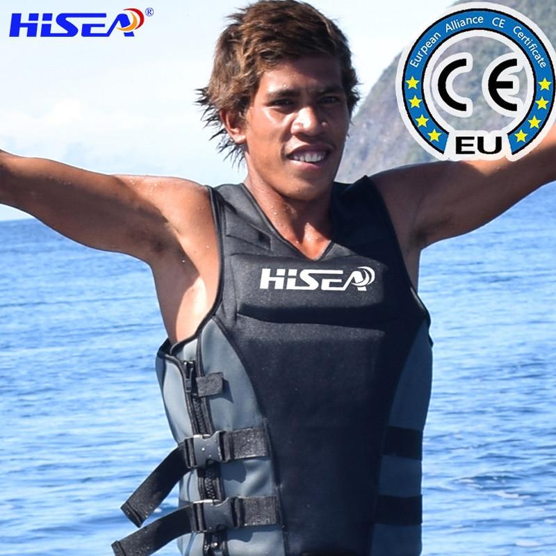 Hisea Neoprene Life Jacket Men Women Life Vest Profession Surf Motorboat Fishing Buoyancy Jacket Adult Swimming Floating Cloth