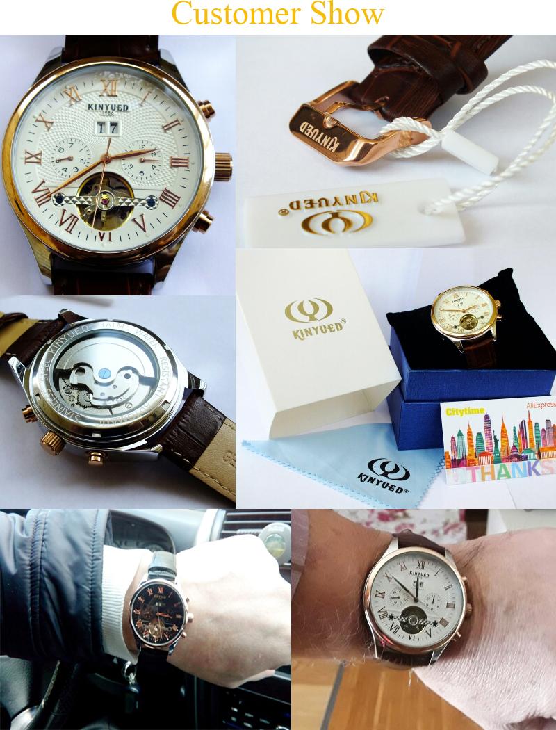 2017 Kinyued Skeleton Tourbillon Zegarek Mechaniczny Automatyczny Mężczyźni Klasyczne Rose Złota Skóra Mechaniczne Zegarki Reloj Hombre 3