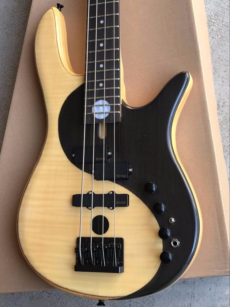 Spedizione gratuita Bass Guitar Acero Fiammato Top Yin Yang Farfalla 4 corde Basso elettrico