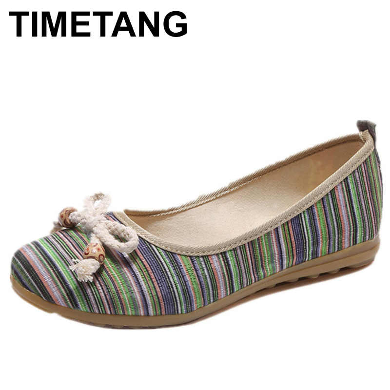 TIMETANG Women s Ballet Flats Striped Bow Female Sweet Casual Shoes Spring  Rainbow Mix Color Lady Flats dc1822be323