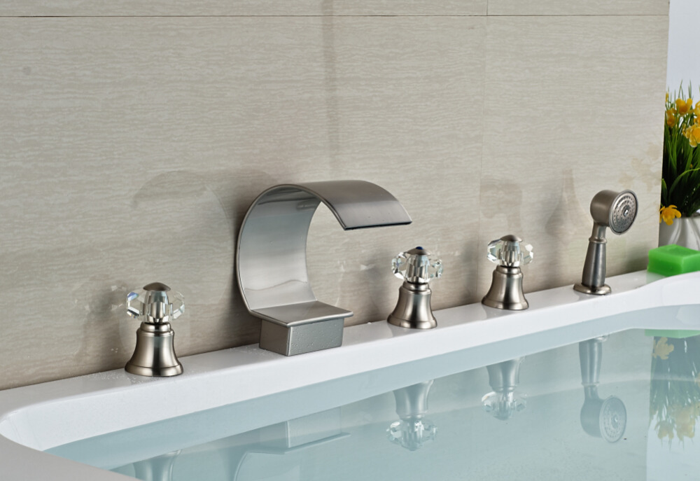 Brushed Nickel Faucet Waterfall Bathroom Spout Sink One: Crystal Nickel Brushed Bathroom Deck Mounted Waterfall