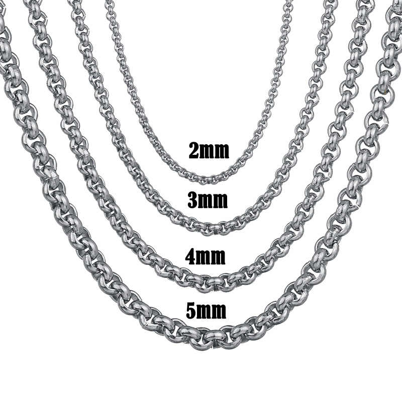 Maxmoon Width 2mm/3mm/ 4mm/5mm Never Fade Stainless Steel Round Box Chain Silver Color Waterproof Men Cuban Necklace