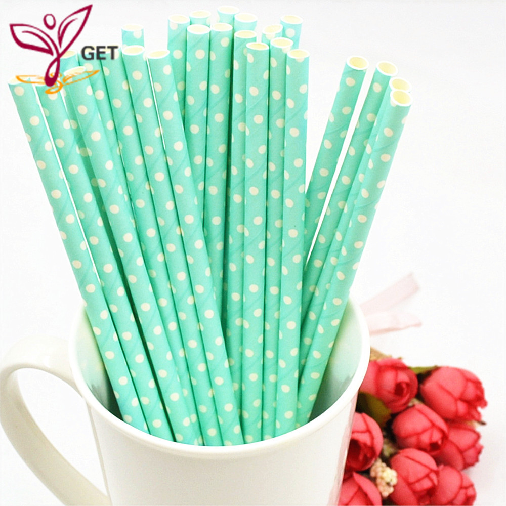 25PCS Colored Stripe Dot Paper Straws Christmas Birthday Wedding Decorative Party Supplies Event Supplies Paper Drinking Straws in Disposable Party Tableware from Home Garden