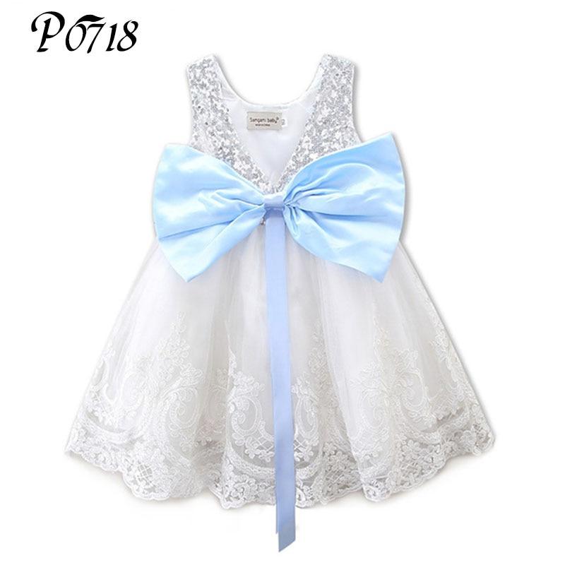 где купить 2018 New Baby Kids Girl Clothing Dresses Bowknot Lace Floral XMAS Party Formal Silver White Bridesmaid Ball Cute Girls Dress по лучшей цене